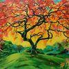 Natur, Herbstbaum, Acrylmalerei, Japanischer ahorn