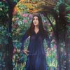 Mädchen im park, Frau im blumenpark, Acrylmalerei, Malerei