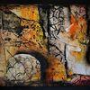 Abstrakt, Streetart, Mauer, Collage
