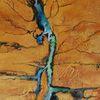 Wüste, Schlucht, Flusslandschaft, Mischtechnik