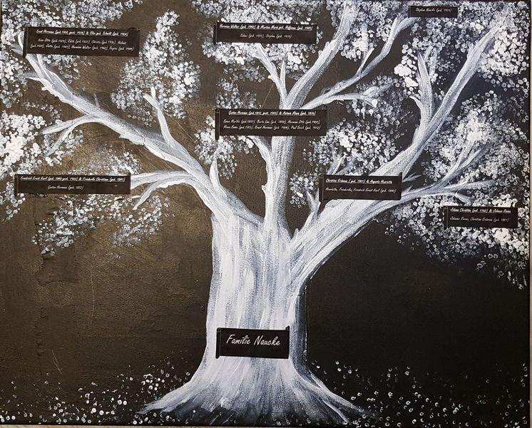 Schwarz, Stammbaum, Malerei, Acrylmalerei, Weiß