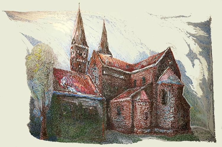 Farben, Haus, Kirche, Dom, Zeichnungen, Interieur