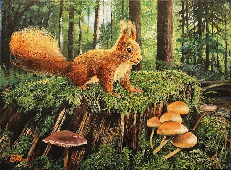 Eichhörnchen, Wald, Acrylmalerei, Malerei