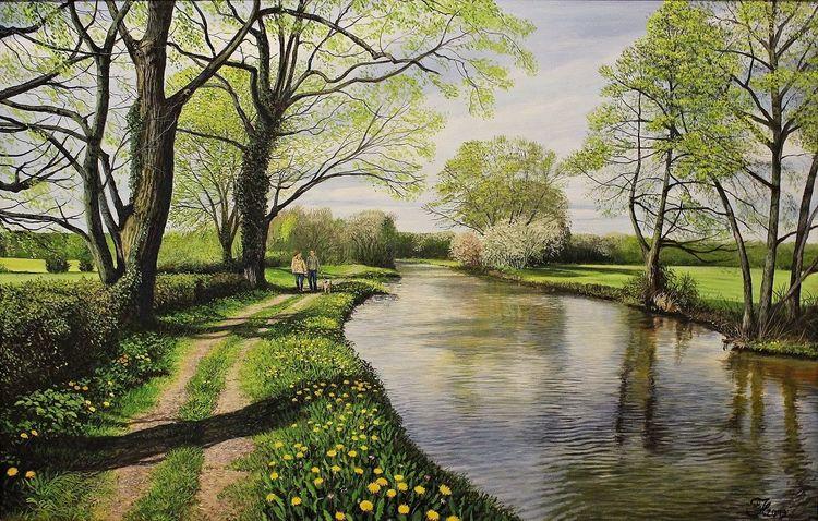 Acrylmalerei, Landschaft, Wasser, Malerei, Frühlingsgefühle