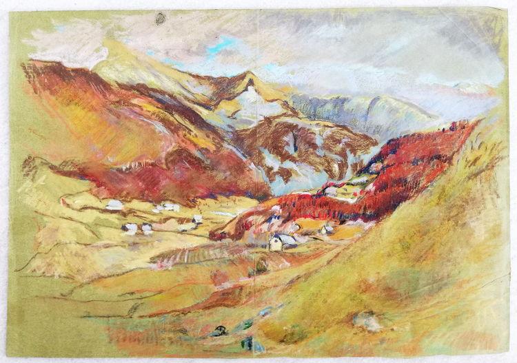Malerei, Landschaft11, Pastellkreide auf papier