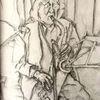 Saxofon, Mikrofon, Grafit, Zeichnungen