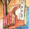 Wehrmauer, Baum, Ufer, Malerei