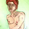 Pastellmalerei, Rot, Haare, Malerei