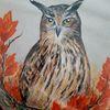 Eule, Herbstlaub, Uhu, Malerei
