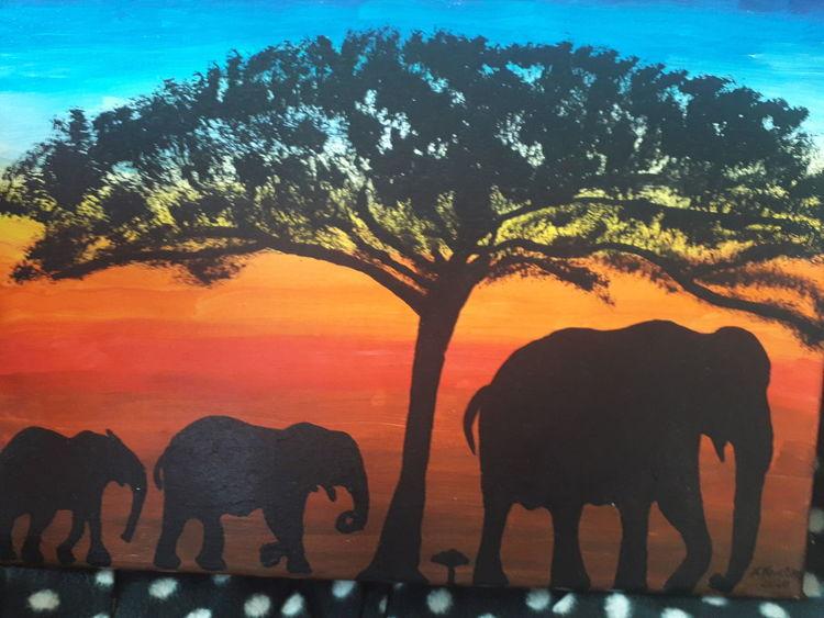 Bunt, Sonnenaufgang, Elefant, Malerei, Afrika, Traum