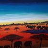 Elefant, Sonnenuntergang, Malerei, Afrika