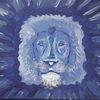 Löwe, Ausdruck, Blau, Malerei