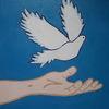 Frieden, Taube, Hand, Malerei