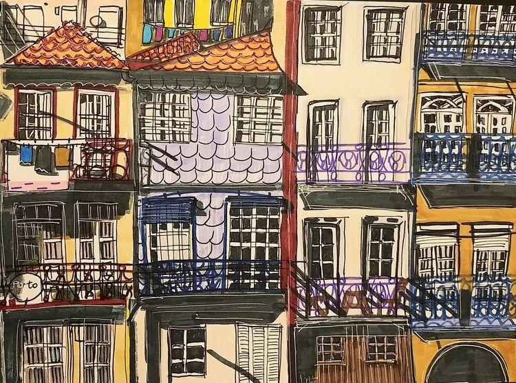 Häuserfassade, Schatten, Porto, Balkon, Portugal, Altstadt