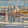 Reflektionen, Segelboot, Hafen, Nebel