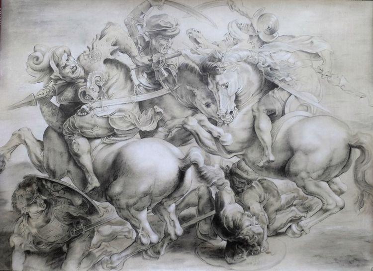 Studie, Peter paul rubens, Malerei marcel heinze, Barock, Kopie, Anghiarischlacht