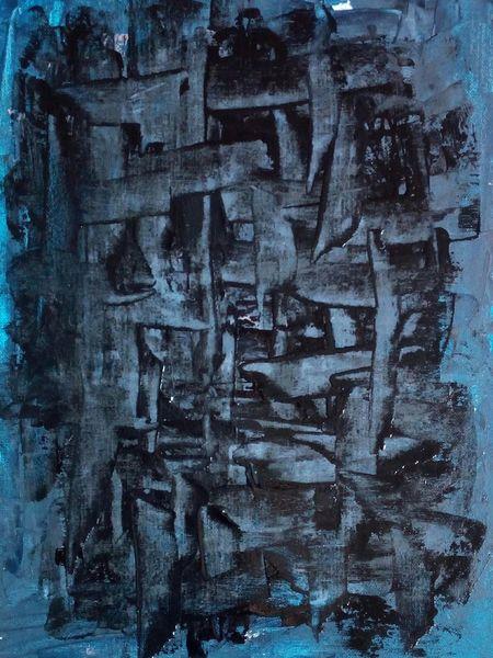 Blau, Schwarz, Gitter, Malerei, Finden