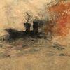 Sturm, Feuer, Dampfschiff, Malerei