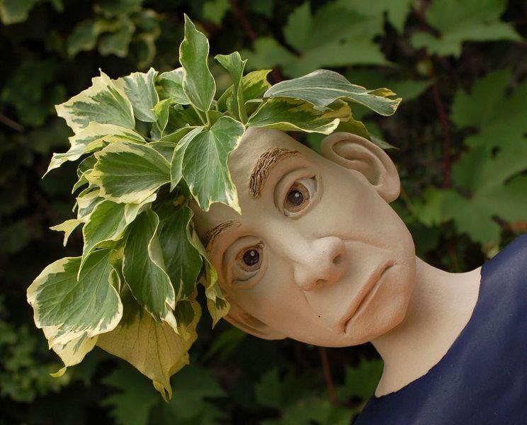 Keramik, Pflanzkopf mit gesicht, Ton, Dreieich, Pflanzkopf, Gartenkeramik