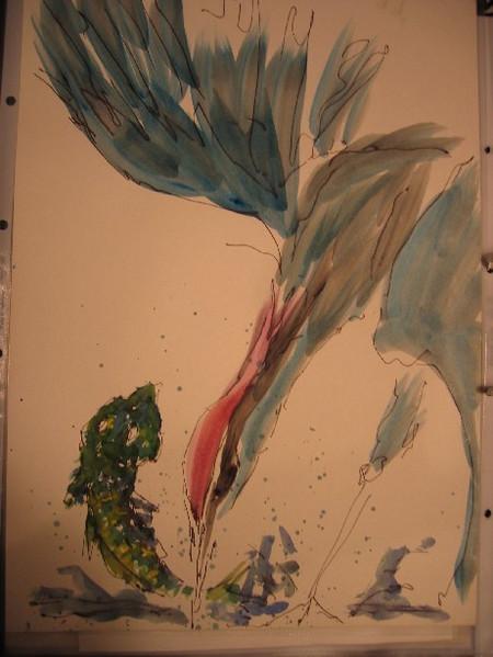Tusche, Aquarellmalerei, Gegenständlich, Zeichnung, Fischreiher, Fisch