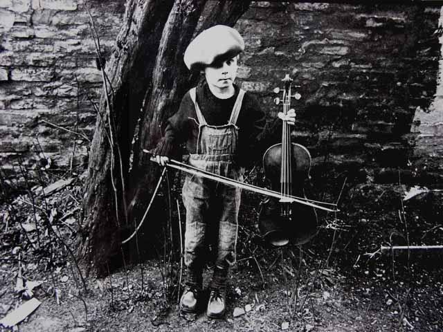 Junge, Geige, Fotografie, Außen, Kinder, Menschen