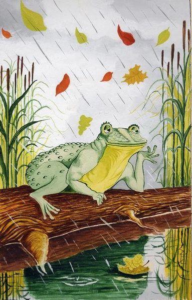 Frosch, Herbst, Holzstamm, Regen, Mischtechnik
