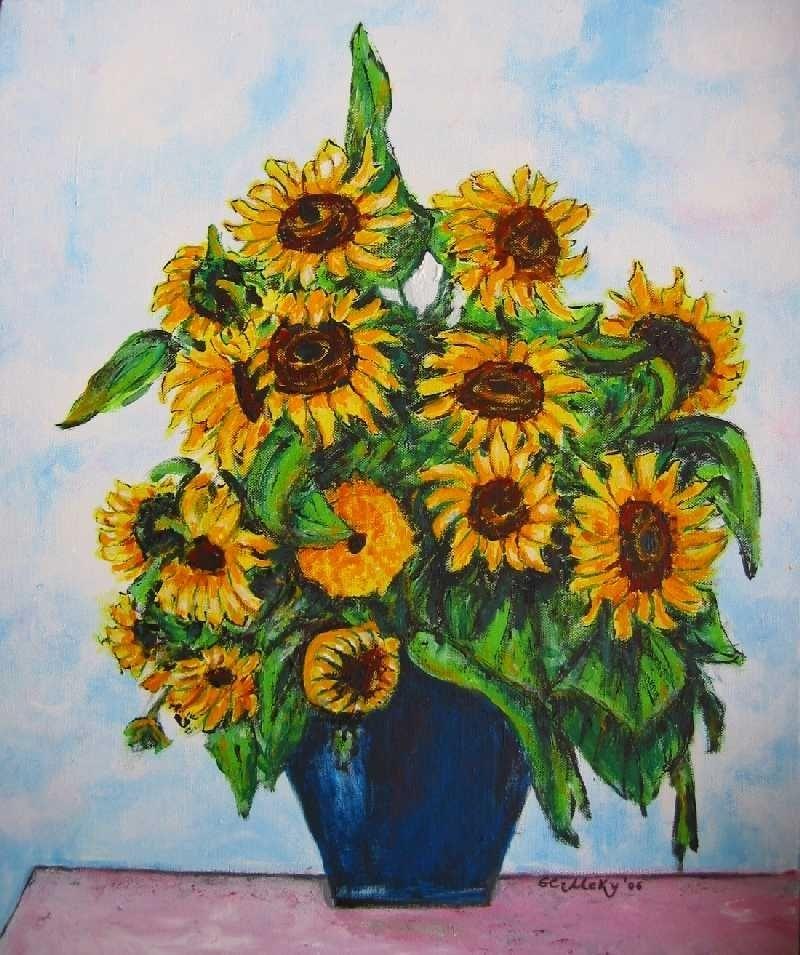 Sonnenblumen Mutti Vase Tutti Sonne Von El Meky On Kunstnet