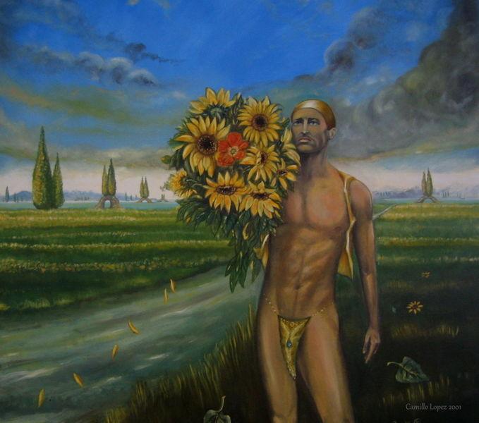 Fantasie, Italienisch, Landschaft, Figurativ, Zeitgenössische kunst, Junger mann blumen
