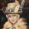Frau, Porträtmalerei, Vintage, Portrait