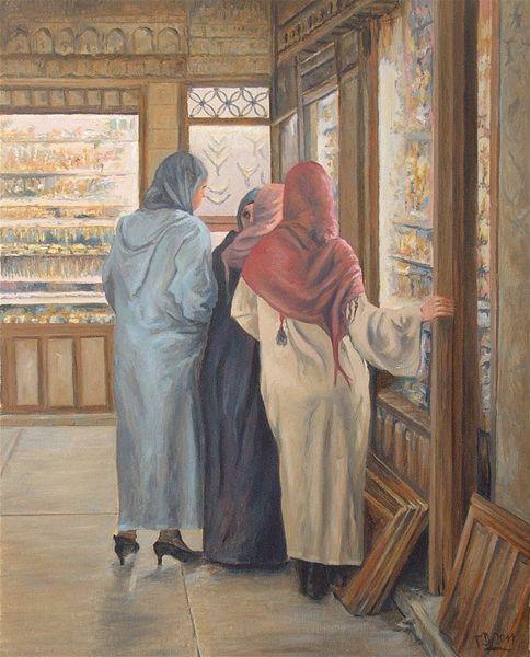 Moderne kunst, Malerei, Arabe, Menschen, Zeitgenössisch, Gemälde
