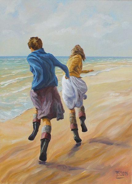 Strand, Menschen, Meer, Bewegung, Ölmalerei, Mädchen