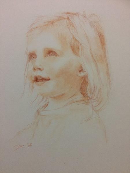 Rötel, Mädchen, Zeichnung, Portrait, Schelmisch, Auftrag