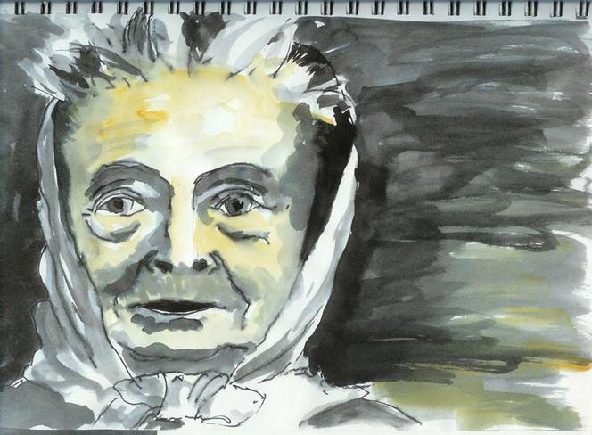 Portrait, Zeichnungen, Frau, Kopftuch,
