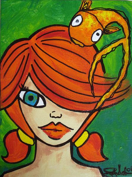 Malerei, Acrylmalerei, Mädchen, Fisch,
