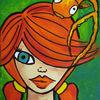 Acrylmalerei, Fisch, Mädchen, Malerei