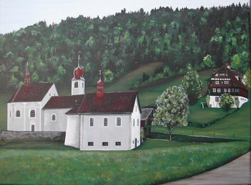 Blatten, Landschaft, Malerei, Kapelle,