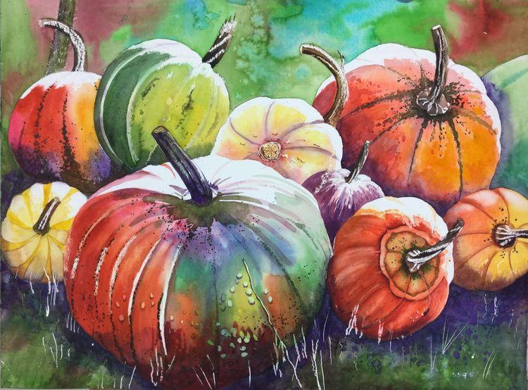 Orange, Aquarellmalerei, Grün, Rund, Kürbisse, Herbst