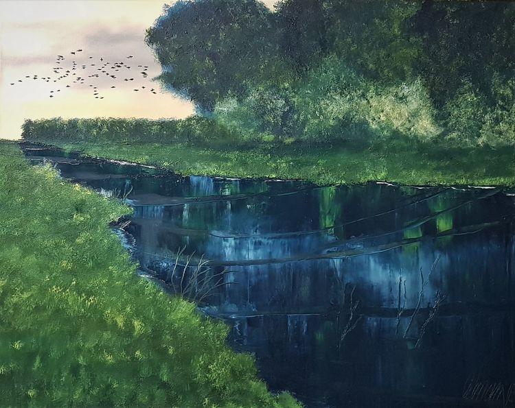 Rabe, Wasser, Fluss, Wald, Malerei,