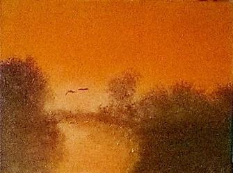 Ognon, Fluss, Gold, Morgenrot, Malerei