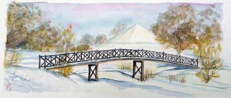 Winterlandschaft, Landpyramide, Branitzer park, Cottbus, Aquarell, Meine bilder