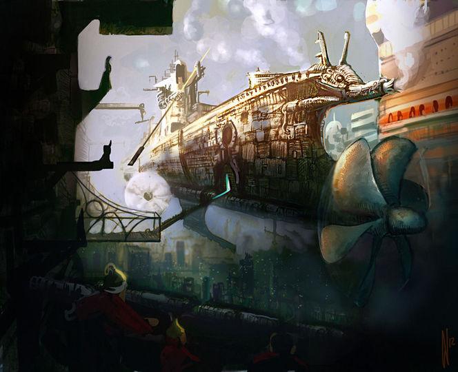 Schiff, Stadt, Kaiser, Alien, Fliegende, Rauch