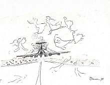 1975, Anflug, Skizze, Malerei, Flugzeug, Zeichnung