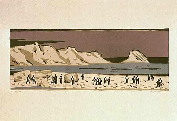 Malerei, Menschen, Meer, Landschaft, Lithografie, Druckgrafik