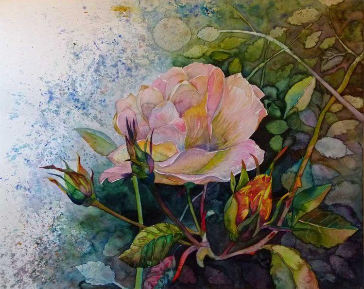 Herbst, Sonne, Blüte, Herbstsonne, Rosenaquarelle, Aquarellmalerei