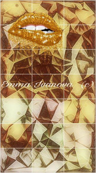 Glas, Mund, Beißen, Background golden, Lippen, Gold