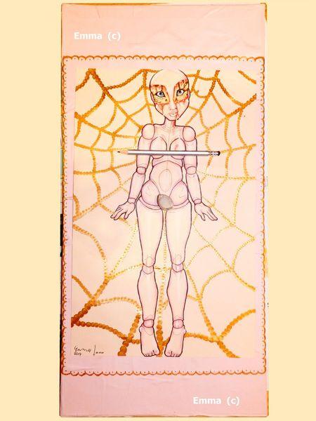 Puppe, Netz, Akt, Gold, Zeichnungen