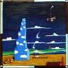 Malerei, Himmel, Lokomotive, Vesuv