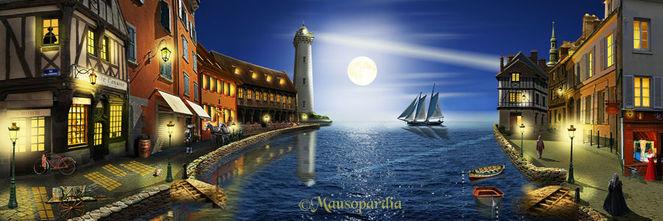 Fantasie, Romantik, Wasser, Haus, Spiegelung, Traumhaft
