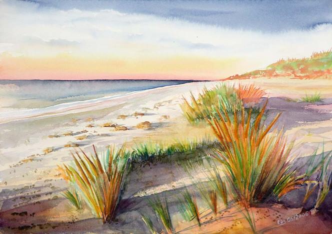 Dämmerung, Malerei, Meer, Landschaft, Wasser, Strand