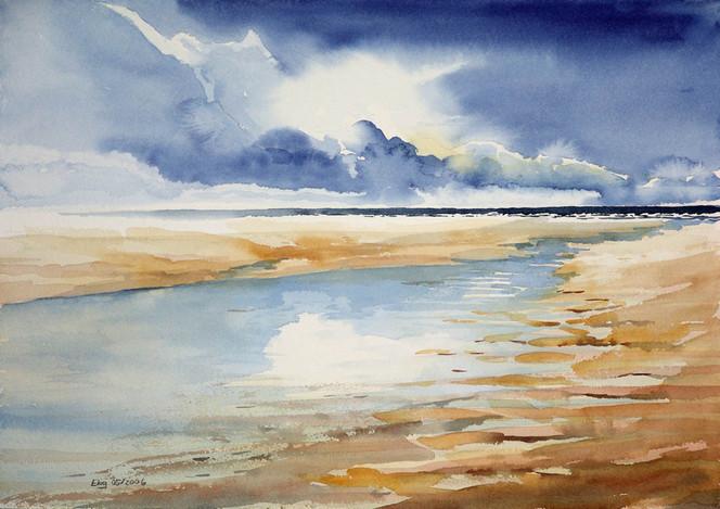 Ebbe, Wolken, Priel, Strand, Meer, Malerei